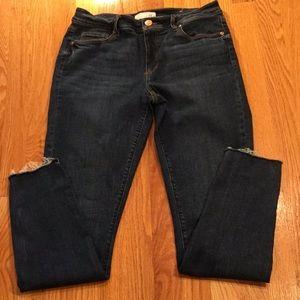 Loft curvy skinny jeans, frayed hems